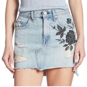 Rag & Bone Dive Ram Floral Distressed Denim Skirt